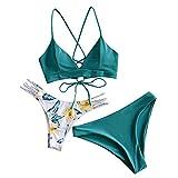 ZAFUL Women Braided Straps Lace Up Bikini Set Bralette Swimsuit Flower Bathing Suit (Three Piece-Green, M)