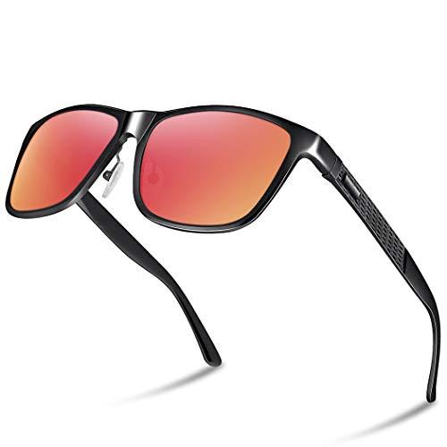 Glazata 偏光サングラス UV400 紫外線カット メタルフレームスポーツサングラス ドライブ/野球/自転車/釣り/ランニング/ゴルフ/運転 男女兼用 『レッドレンズ』