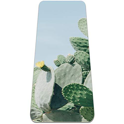 Alfombrilla de yoga con flor amarilla, gruesa, antideslizante, para mujeres y niñas, pilates, ejercicios de piso, (72 x 24 pulgadas, 1/4 pulgadas de grosor)