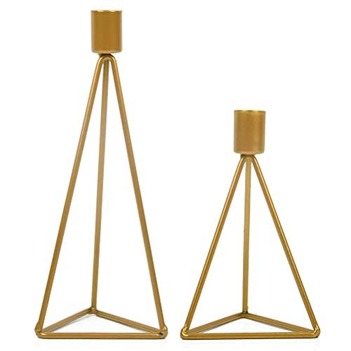Juego de 2 candelabros modernos Candelabros triangulares, candelabros de diferentes tamaños, para el día de San Valentín, Navidad, boda, decoración de la mesa de comedor,dorado