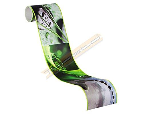 A.S. Création selbstklebende Bordüre Stick Ups Borte Wellness fotorealistisch 5,00 m x 0,10 m grün schwarz Made in Germany 905611 9056-11