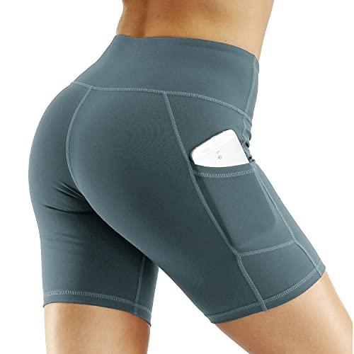 Nekosi Pantaloncini corti da donna, per fitness, sport, a vita alta, con tasche, grigio/blu, M