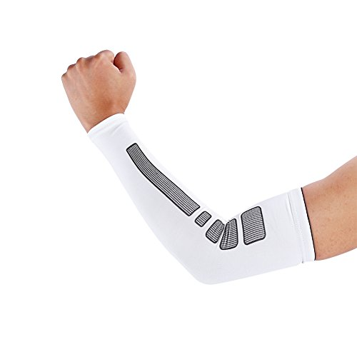 VGEBY 1 Paar Armbandage Kompressions-Ellenbogenbandagen Arm Sleeve Ellenbogen Schoner UV-Schutz Atmungsaktiv Herren Damen für Outdoor Basketball, Joggen, Fitness Sport (Farbe : Weiß, Abmessung : M)