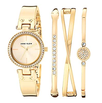 Anne Klein Women's Swarovski Crystal Accented Gold-Tone Watch and Bangle Set, AK/3368GBST