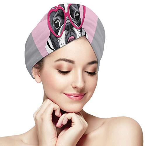 Card Valentines Day French Bulldog Striped Wrap Hair Towel For Women Towel Dry Hair Product Soft Absorbent Quickly Dry Hair Turban Girls Hair Towel Wrap Womens Hair Wrap Towel Girl Towel Hair Wrap