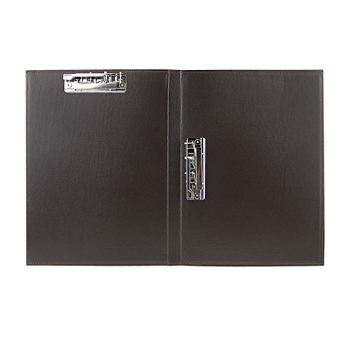 クリップボード 二つ折り クリップファイル a4 ポード 2箇挟み ダブルクリップ 文書 フォルダー 書類収納 整理 ホルダー 資料挟みクリップ 高品質 PUレザー オフィス ホテル レストラン 多用途 文具 人気 事務用品 コーヒー色