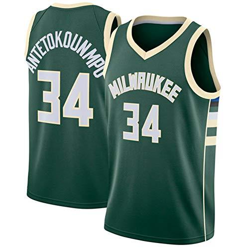YIXUAN Herren Trikot Jersey Milwaukee Bucks #34 Giannis Antetokounmpo Swingman Basketball Trikot (Grün, XL (52))