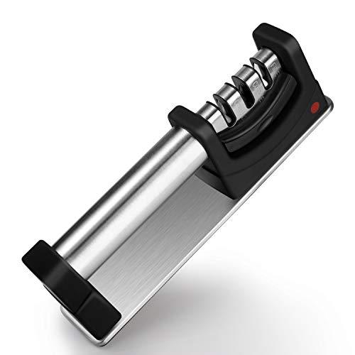VONSALEN® 3 Stufen Messerschärfer – rutschfeste Beschichtung - Messerschleifer für Links- und Rechtshänder - Profi Messerschaerfer - Messer schärfen & Schleifen