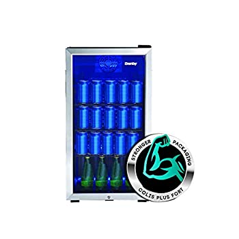 Danby DBC117A1BSSDB-6 117 Can Beverage Center 3.1 Cu.Ft Freestanding Drinks Refrigerator for Basement Dining Living Room-Bar Fridge Perfect for Beer Pop Water Black/Grey