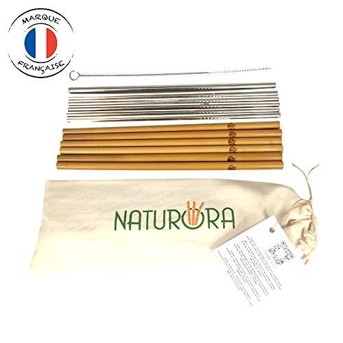 NATURORA Lot de 12 Pailles - 6 en Bambou et 6 en INOX - Paille Reutilisable - Bambou 100% Naturel, INOX 18/10 Qualité Alimentaire - Goupillon et Pochette en Lin Offerts - Zero Dechets