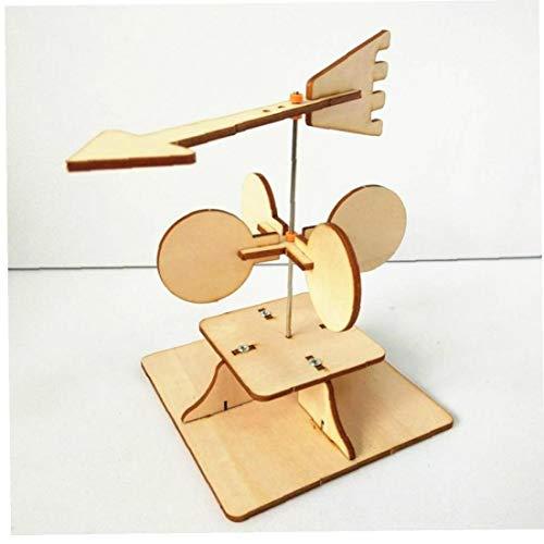Lankater Handgemachte Wetter Wind Vane Schule Unterricht Bildung Lernspielzeug, Kinder Kreative DIY Experimente (Holz-Farbe)