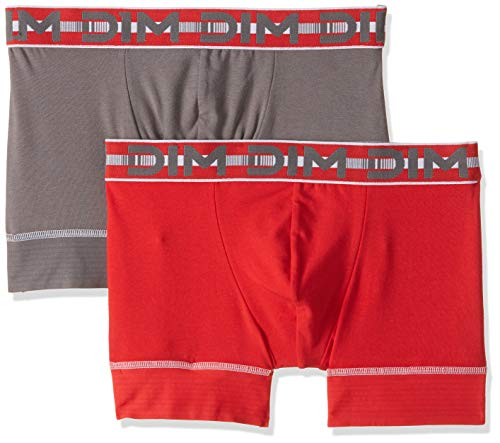 Dim - 3D Flex Stay & Fit - Boxer - Uni - Lot de 2 - Homme - Multicolore (Rouge Tonic / Gris Fonce) - FR : Large (Taille fabricant : 4)
