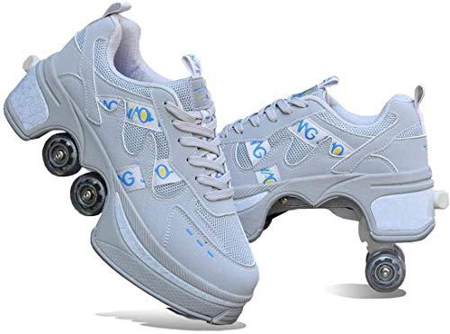 FUYY Patines De Ruedas, Zapatos De Patinaje para Hombres Y Mujeres Zapatos De Caminar Automáticos para Adultos Poleas Invisibles Patines con Rueda De Deformación De Doble Fila,White-35