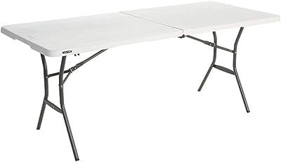 Todeco - Mesa de Plástico Resistente, Mesa Plegable Portátil, 240 x 75.5 cm, Blanco, Plegable por la Mitad, Material: HDPE, Carga máxima: 100 kg: Amazon.es: Jardín