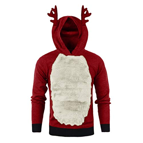 Fanteecy Ugly Christmas Sweater Men's Reindeer Hooded Light Up Pullover Sweatshirt Novelty Hoodie Funny Xmas Hoody