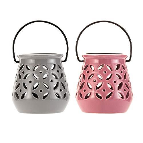 Pauleen 48064 Sunshine Bloom Solar-Laterne 2er Set Keramik Grau/Rosa für außen-Balkon oder Garten, 0.012 W