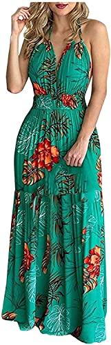 LYDIANZI Mujeres De Verano Playa Sundress Sundress Tropical Floral Gráfico Vestido Largo Halter Sin Espalda Cintura Alta Ruffle Maxi Vestido(Size:XX-Grande,Color:Verde)