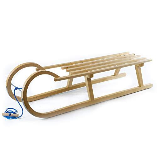 Holzfee Kinder-Hörnerschlitten 120 mit Leine Schlitten Hartholz mit Lattensitz