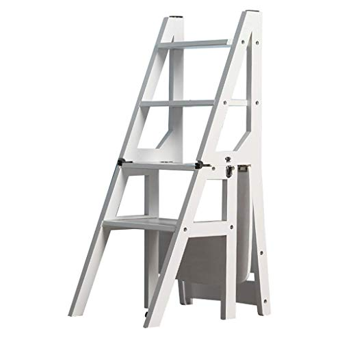 Taburete con escalones Plegable Taburete con escalón Plegable de 4 escalones Escalera Interior de Madera Silla Taburete de Escalera de Cocina para Adultos Niños Estante de Flores Multifuncional/Ban