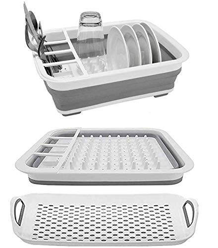 Collapsible Dish Rack and Drainboard Set Foldable Dish Drying Rack Portable Dish Drainer Dinnerware Organizer Rack Folding Tableware Storage Rack Cutlery Rack for Kitchen Counter RV Camper Accessories