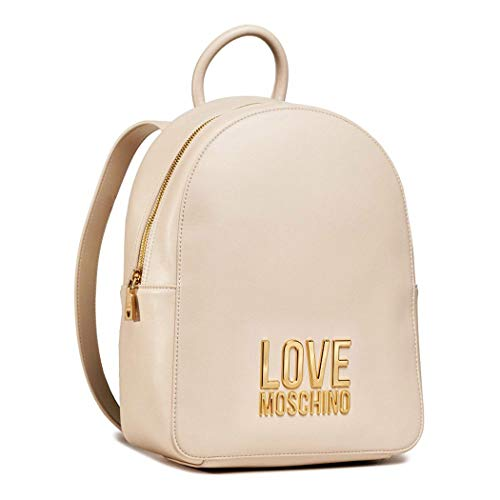 Love Moschino Zaino avorio logo metallo dorato