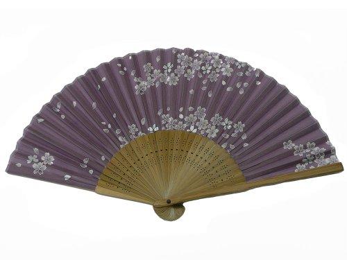 World Treasure Japanese Design Silk Handheld Folding Fan, Lavender White Petals HF-195
