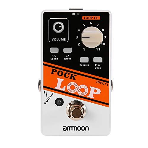 Gitarreneffektpedal, ammoon 11-Slot-Gitarren-Looper-Effektpedal, Die Längste Aufnahmezeit Beträgt 330 Minuten, Unterstützt 1/2 und 2X Speed Playback Reverse-Funktion