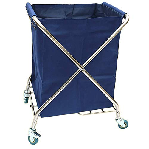 HWJL Fahrbare Lagerwagen mit Cart Wagenrad Falzmaschine mit Radbremse, Falzwagen Sortiermaschine, Wagen Sammlung von Hotels,Blau