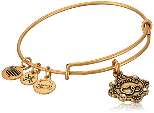 Alex and Ani Womens Because I Love You, Daughter Charm Bangle Bracelet, Rafaelian Gold, Expandable