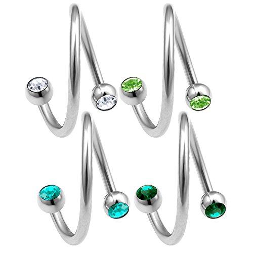 bodyjewelrytrend 4 Stück 1,2mm 8mm lippenpiercing spirale Cartilage augenbrauenpiercing Tragus Helix Ohr Piercing schmuck kristallkugel - E5PCQ