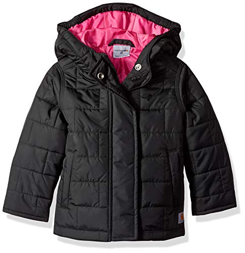 Carhartt Girls' Little Amoret Quilted Jacket, Black, Small (7/8)