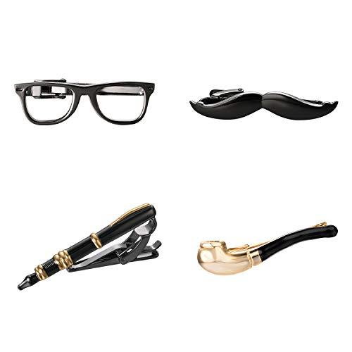 Yoursfs Men's Funny Tie Clips Four-Piece Study Glasses Pen Mustache Pipe Tie Pin Fashion Black Gold Unique Birthday Gift