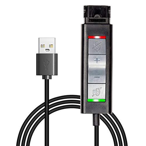 Cable adaptador QD (desconexión rápida) a USB con ajuste de volumen, silenciador para altavoz y micrófono por separado, compatible con cualquier enchufe QD de Plantronics y VoiceJoy.