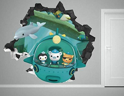 HQQPA Etiqueta de la pared 3D Smashed Wall Decal Gráfico Personaje de dibujos animados calcomanías de pared pegatinas mural decoración del hogar para el arte del dormitorio