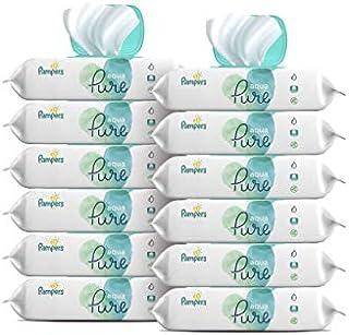 Pampers Aqua Pure Toallitas para bebés, sensitivo, con agua, 6 cajas tipo tapa emergente, SG_B07JQM8ZGW_US, 12 recambios, 1