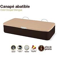 Naturconfort Canapé Abatible Tapizado Apertura Lateral Tapa 3D Ecopel Wengue 90x190cm Envio y Montaje Gratis