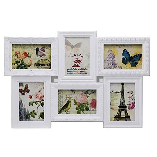 Acan Marco para Fotos de Pared múltiple, decoración del hogar. Multimarco portafotos de PVC (6 Fotos, Blanco)