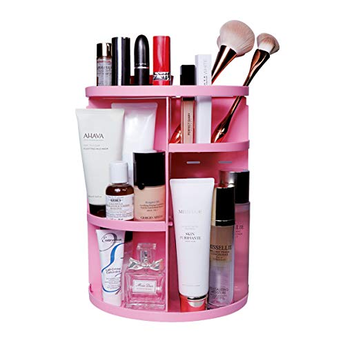 APIYOO 360 Rotating Makeup Organizer- Cosmetic Display Case with Adjustable Shelf Height, Spinning Brush Holder Lipstick Storage Rack (Pink)