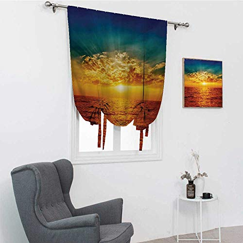 GugeABC Ocean Decor Window Blinds, Sunset Clouds Exotic Seaside Sun Rays Magical Evening View Decorative Picture Print Tie Up Curtains for Window, Multi, 42' x 72'