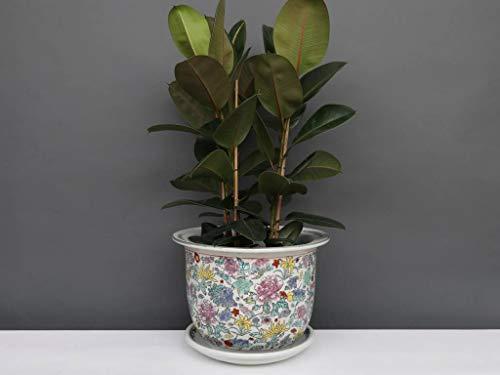 Yajutang Maceta de porcelana china, color blanco con flores de colores, diámetro 33 cm