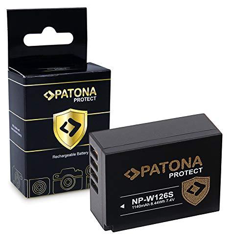 PATONA PROTECT Batteria NP-W126S, Sensore di temperatura NTC, custodia V1 compatibile con Fujifilm FinePix VPB-XT3 HS50EXR XPro-3