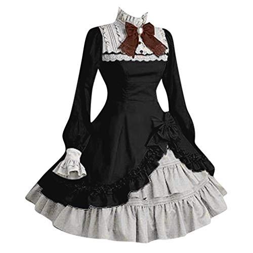 QinMM Cosplay Costume Vestito da Lolita Dress Maid Donna con Arco Anime Gotico Abito con Arco per Halloween Carnival