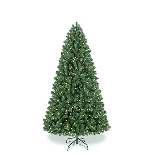 Benazcap Premium 6.5FT Pre-lit Artificial Spruce Hinged Christmas Tree,Xmas Tree with 330 Lights, 1178 Branches Tips and Foldable Stand for Holiday Decor