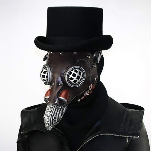 BZWHM1GJ Pest Doktor Vogel Maske mit Hut Lange Nase Schnabel Cosplay Steampunk Pest Doktor Maske Halloween Maskerade Party Kostüm Maske (Style 2)