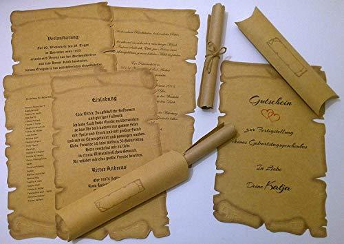 145 rollos de letras, 145 cajas de cojín, papel pergamino medieval, para certificados, cupones, invitaciones de boda, cumpleaños