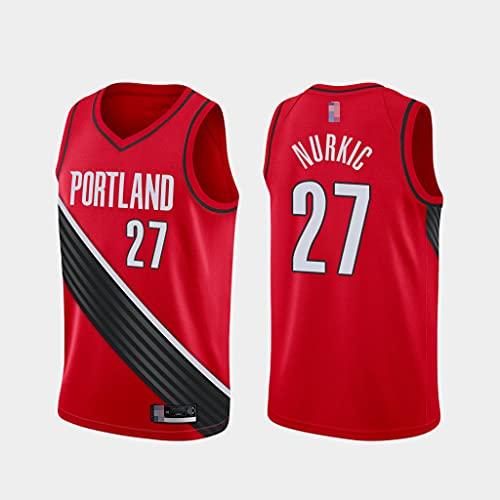 Ropa De Baloncesto para Hombre NBA Portland Trail Blazers 27# Nurkic Bordado Jerseys, Tops De Deportes Sin Mangas con Malla Transpirable Sin Mangas,Rojo,L(175~180cm)