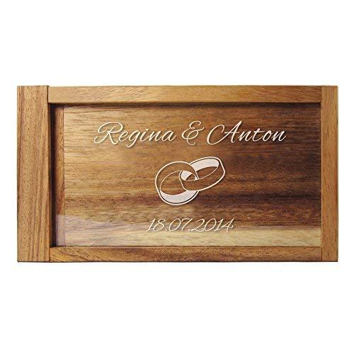 Casa Vivente Magische Geldgeschenkbox mit Gravur, Personalisiert mit Namen und Datum, Motiv Eheringe, Hochzeitsgeschenke für Brautpaar