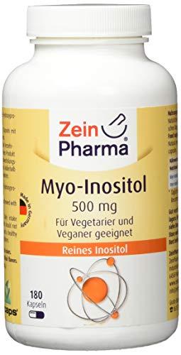 ZeinPharma MyoInositol 500 mg Kapseln 3 Monate Vorrat Glutenfrei vegan koscher & halal Hergestellt in Deutschland 107 g, Multicolour, Neutral, 180 stück