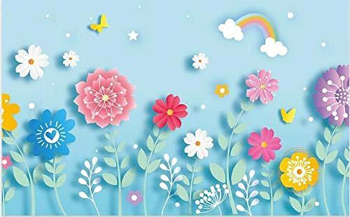 Pinturas 3D Foto Cute Little Flower Grass Poster Boy Girl Bedroom Kindergarten Pet Shop Aula Decoración Mural Wallpaper-200Cmx140Cm(Lxa)