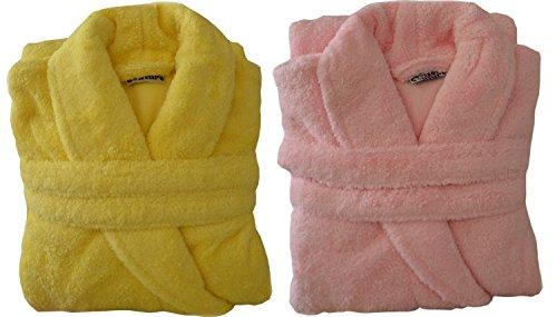 Kuschel Damen Bademantel, in gelb oder rosa,XL Farbe gelb